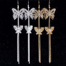 XIYANIKE-pendientes de cristal de mariposa para mujer, aretes deslumbrantes de circonita Micro CZ, regalo de Navidad