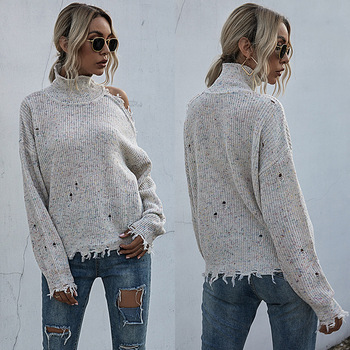solid color long sleeve round collar skirt hem lace embellished t shirt for women Loose autumn winter off shoulder long sleeve sweater  High collar solid color versatile T-shirt 2020 new women's wear