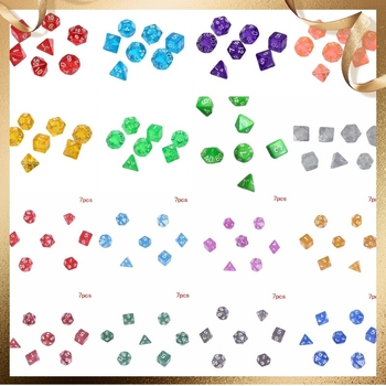 7Pcs/set Digital Dice Game Polyhedral Multi Sided Acrylic Dice Colorful Accessories for Board Game acrylic 10 side game dice green 5 pcs
