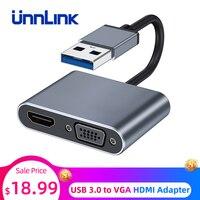 Unnlink USB 3,0-VGA HDMI адаптер 1080P двойной выход дисплей мульти-дисплей Графический конвертер Соединительный кабель для портативных ПК