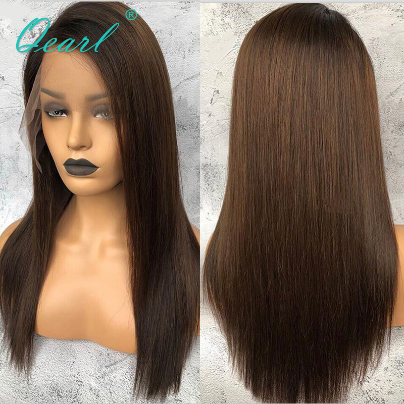 Ombre Brown Color Lace Front Human Hair Wigs Pre Plucked Natural Hairline 13x4/13x6 Brazilian Remy Hair Straight Wig Qearl