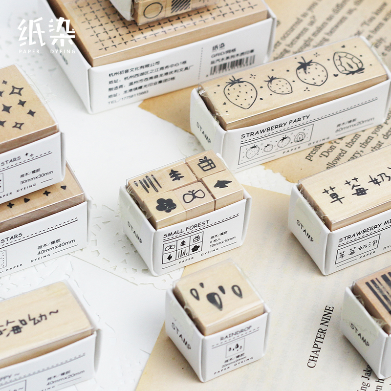 JIANWU 1pc Forest Theme Vintage Stamp Diy Wooden Rubber Stamps Seal For Scrapbooking Photo Album Bullet Journal Supplies