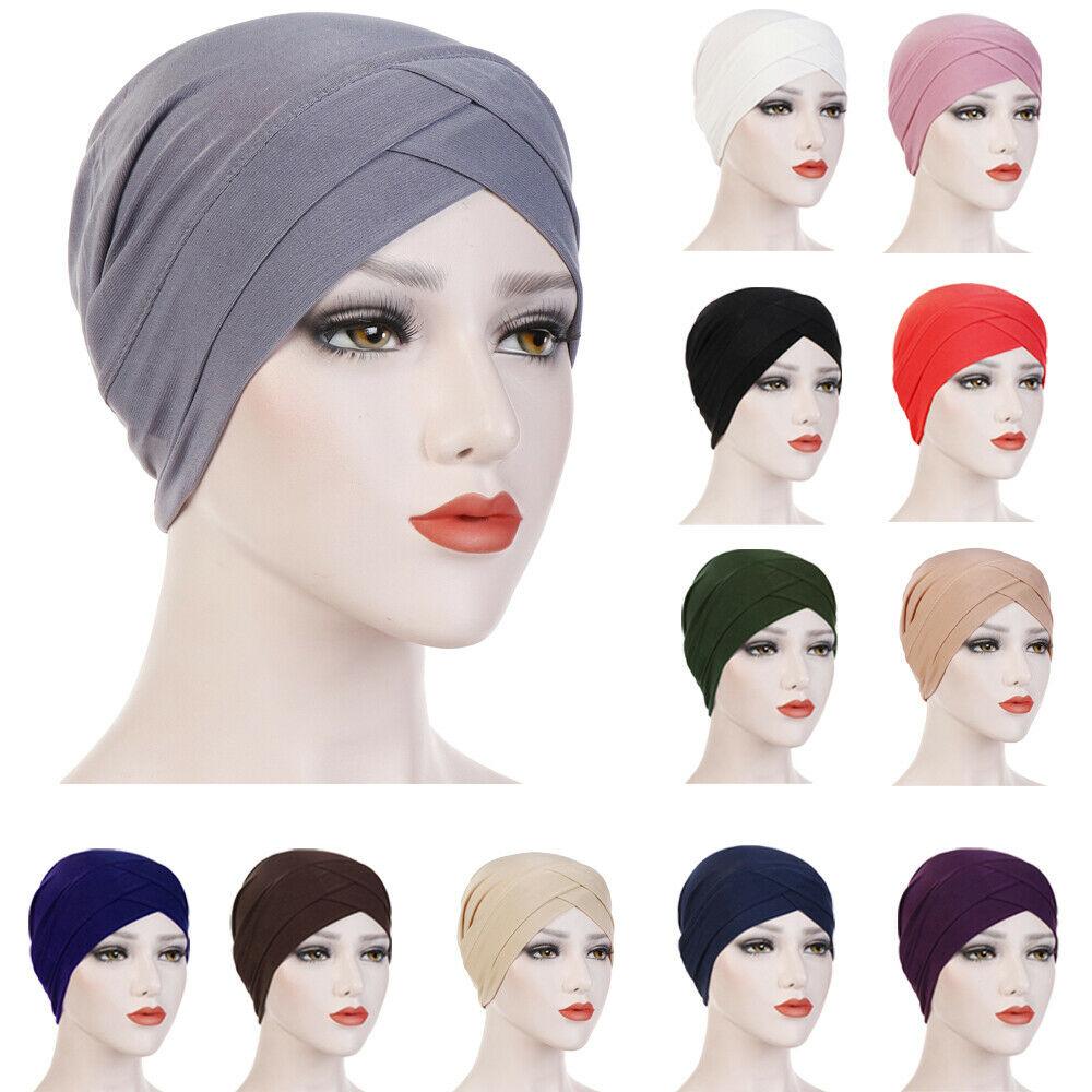 Ladies Women Hair Loss Scarf Strech Cancer Chemo Cap Muslim Turban Hat Hijabs Head Wrap Beanie Bonnet Indian Islamic Cover New