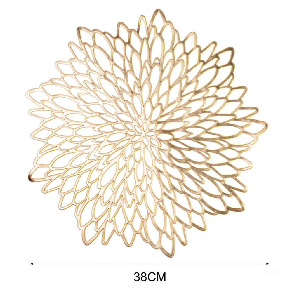 Material do pvc placemat ouro oco carimbando placemat hibiscus flores forma única placemat para mesa de jantar decoração casa