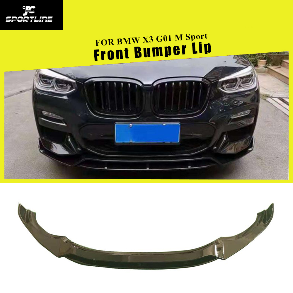 ABS Glossy Black Red <font><b>Carbon</b></font> Fiber Look Front Bumper Lip Spoiler Splitters For <font><b>BMW</b></font> <font><b>X3</b></font> <font><b>G01</b></font> X4 G02 M Sport 2018 - 2020 image