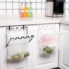 Suporte de saco de lixo dobrável cozinha saco de plástico rack gabinete salvar espaço porta volta tipo ferro pendurado lata de lixo cremalheiras titular