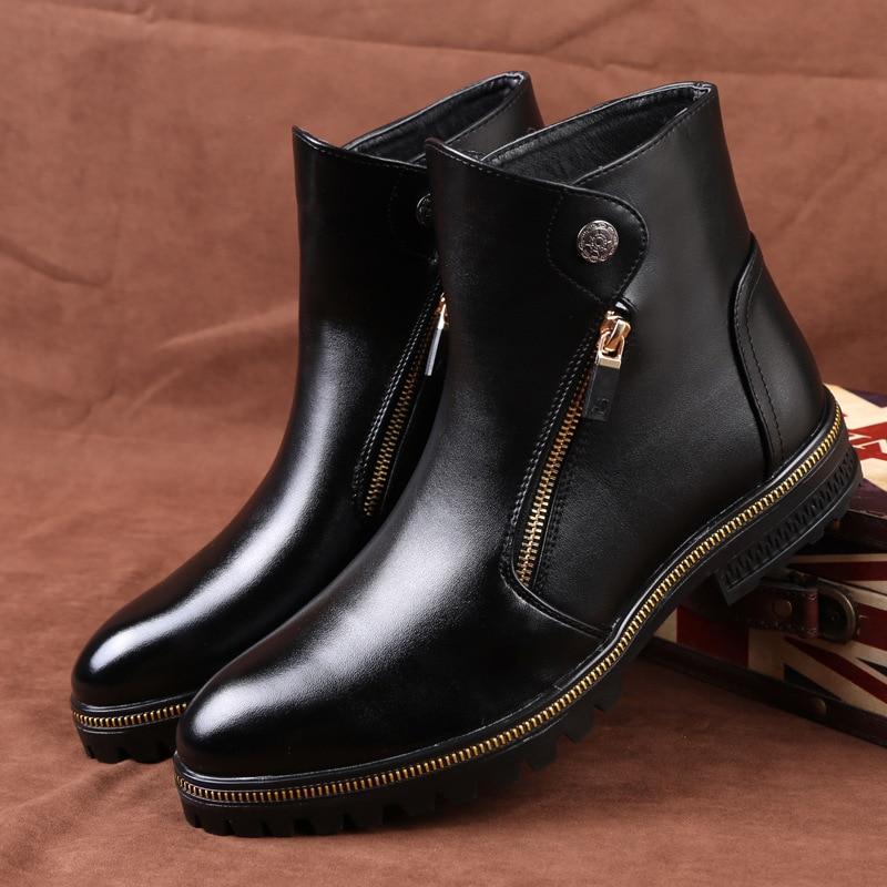 2019 autumn men's leather boots fashion men's wild brand red plus cotton Martin boots men's wild casual shoes