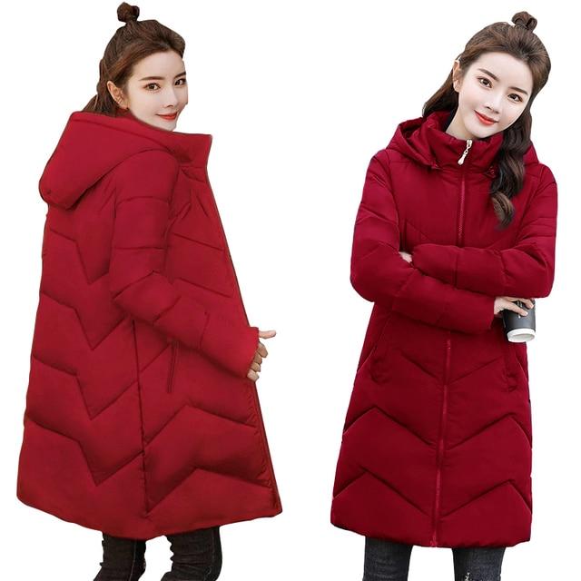 Plus rozmiar 4XL 5XL 6XL kobiet kurtki zimowe z kapturem zagęścić bawełny wyściełane kobiece płaszcz zimowe damskie długie Parka ciepła ocieplana