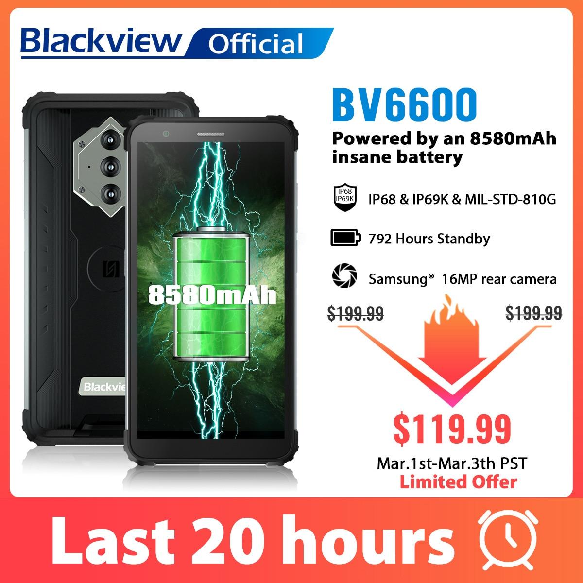 Blackview – Smartphone BV6600, étanche IP68, robuste, 8580mAh, Octa Core, 4 go + 64 go, 5.7 pouces, téléphone portable, caméra 16mp, NFC, Android 10