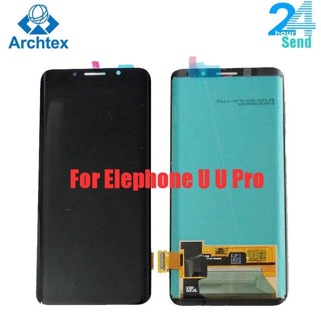 100% Elephone U U 프로 AMOLED LCD 디스플레이 + 터치 스크린 디지타이저 어셈블리 교체 부품 5.99 인치 18:9 있음