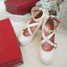 Japonés vintage dulce lolita zapatos lindo bowknot correa cruzada princesa kawaii zapatos Mesa esquina tacón alto mujeres zapatos loli cos