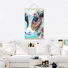 Алмазная живопись с коровьим рисунком деревянная полная картина