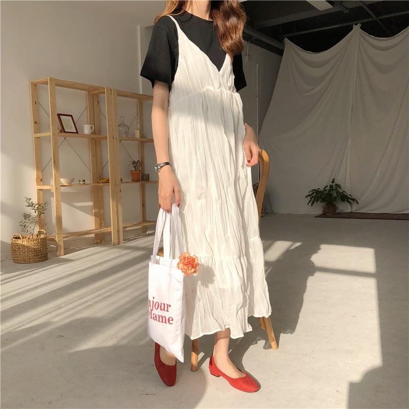 Women Pleated Dress Elegant Korean Fashion Janpan Harujuku Kawaii Spaghetti Strap Sexy V-neck Casual Long Dress Vestidos h2243 1