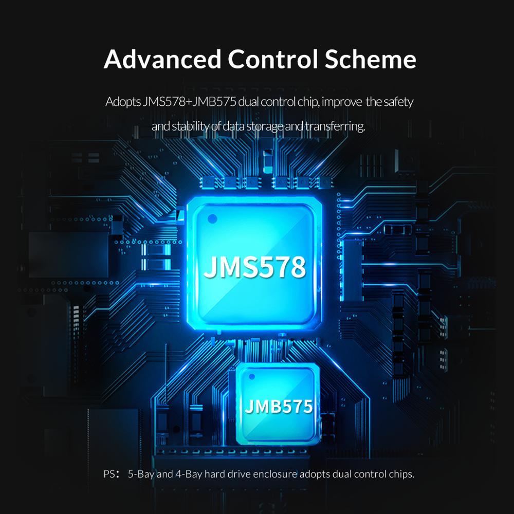 Image 4 - ORICO 80TB 5 Bay Enterprise stacja dokująca HDD z podwójny układ scalony 150W wbudowany futerał na dysk twardy Power dla 2.5 3.5 Cal dyski twardeObudowa dysku twardego   -
