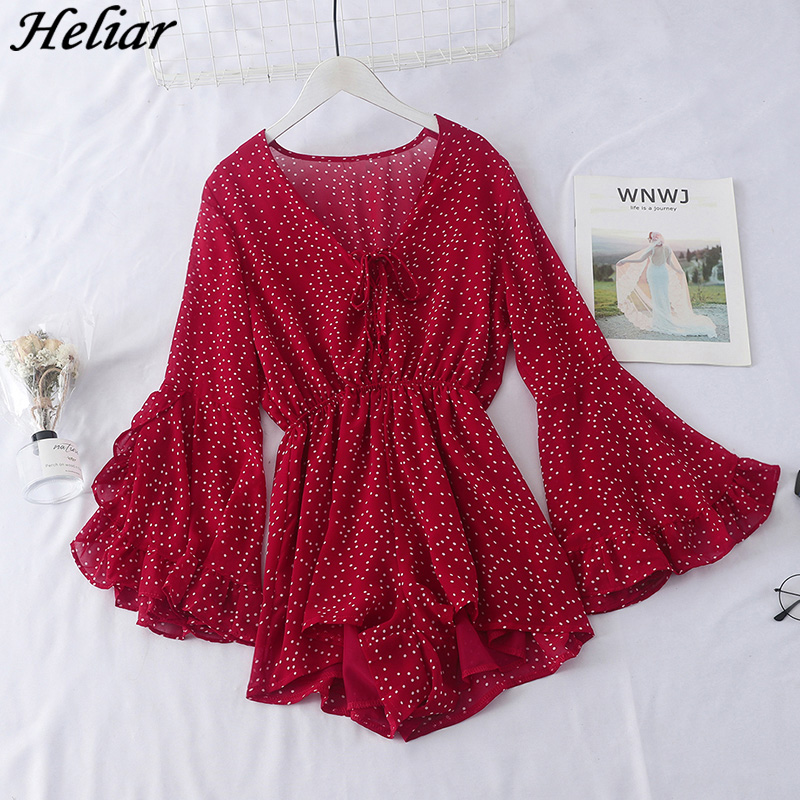 HELIAR 2019 Women Sexy V-Neck Playsuit Chiffon Polka-Dot Jumpsuits Rompers Long Sleeve Party Female Loose Falbala Jumpsuits