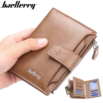 2020 DESIGN Men Wallets Hasp Short Solid Fashion Zipper Card Holder Men Leather Purse Coin Pocket High Quality Male Purse 2020 new top quality men wallets hasp short solid men purse fashion zipper card holder coin pocket high quality male purse