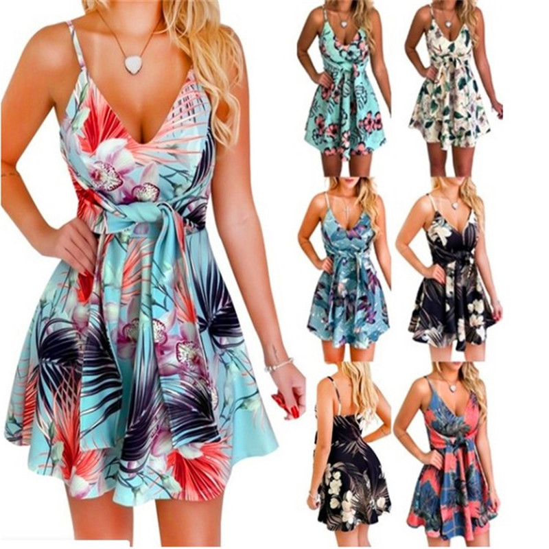 2020 Summer Dress New Sexy Women's Fashion V-Neck Sling Sleeveless Backless Bandage Print Swing Large Size Loose Short Dress