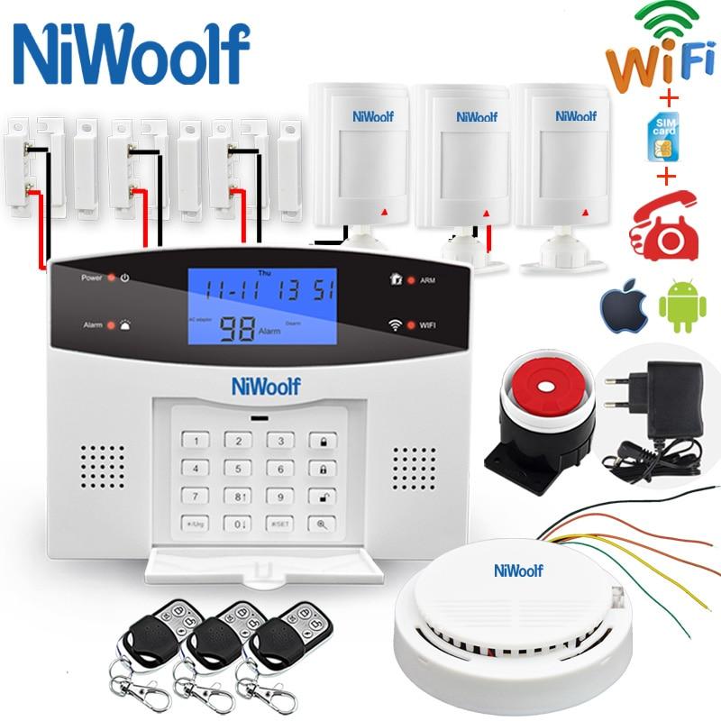 Wifi GSM Home Burglar Alarm System Wireless & Wired Detector Relay Output Smart Control APP Door Sensor Fire Smoke  Motion Alarm