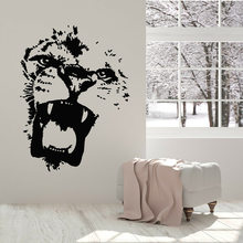 Tiger Wand Aufkleber Lion Abstrakt Wilde Tier Predator Kopf Fenster Decals Nette Home Kunst Wandmalerei Schlafzimmer Tapete M274(China)