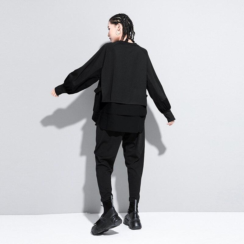 [EAM] Women Army Green Irregular Split Joint Big Size T-shirt New Round Neck Long Sleeve  Fashion Spring Autumn 2020 1DA608 4