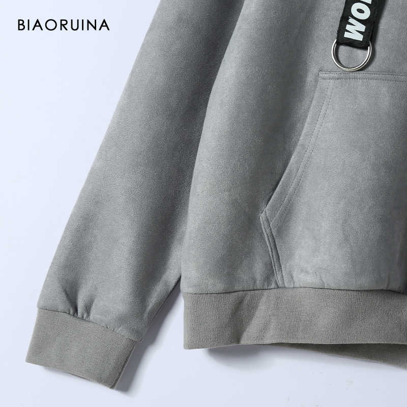 Biaoruina 여성용 3 색 스웨이드 루스 캐주얼 솔리드 후드 레터 프린트 버클 리본 패션 후드 티셔츠 액티브웨어