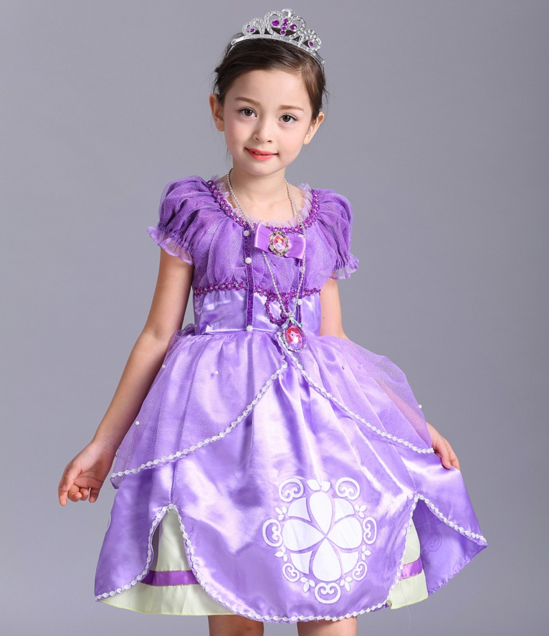 Summer Girl Sofia Princess Dresses Kids Puff Sleeve Sequin Sophia Cosplay Costume Children Halloween Prom Party Dress Up
