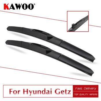 KAWOO para Hyundai Getz Auto de goma suave Windcreen limpiaparabrisas hojas 2002, 2003, 2004, 2005, 2006, 2007, 2008, 2009, 2010, 2011 Fit U brazo con gancho