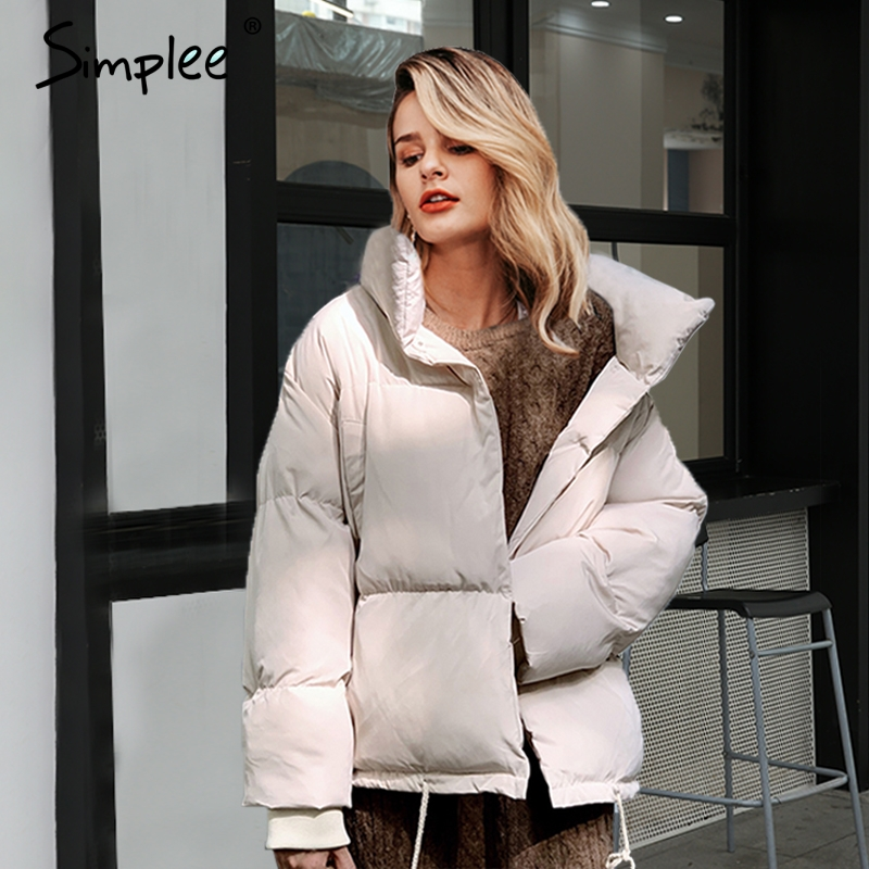 Simplee Fashion loose women thick   parka   Casual pocket winter female warm padded coat Lace up soft office ladies down jacket 2019