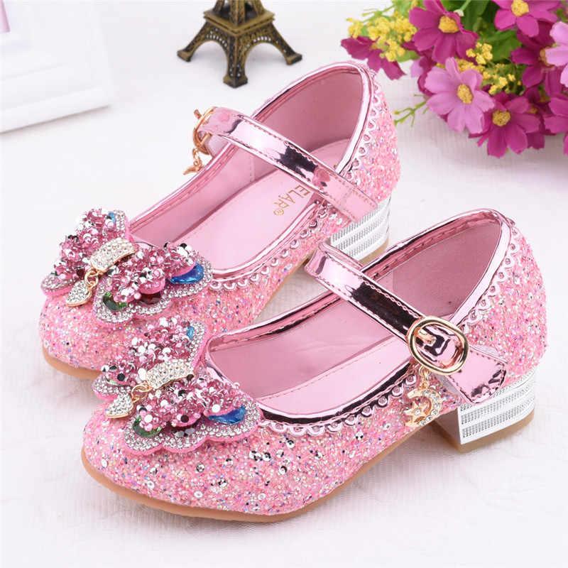 Prenses çocuk deri ayakkabı kızlar için çiçek Glitter çocuk yüksek topuk kızlar ayakkabı kelebek düğüm pembe mor mavi gümüş K30