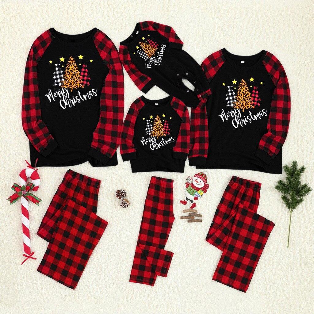 Noir rouge noël famille correspondant vêtements vêtements de nuit à manches longues hauts et pantalons noël Parent enfant vêtements pyjamas Se6