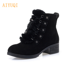 2019 New Women Winter Boots Suede Leather Fur ankle Boots Women High Heel Women's Snow Boots Mid-heeled Women's Shoes faux fur heeled ankle boots