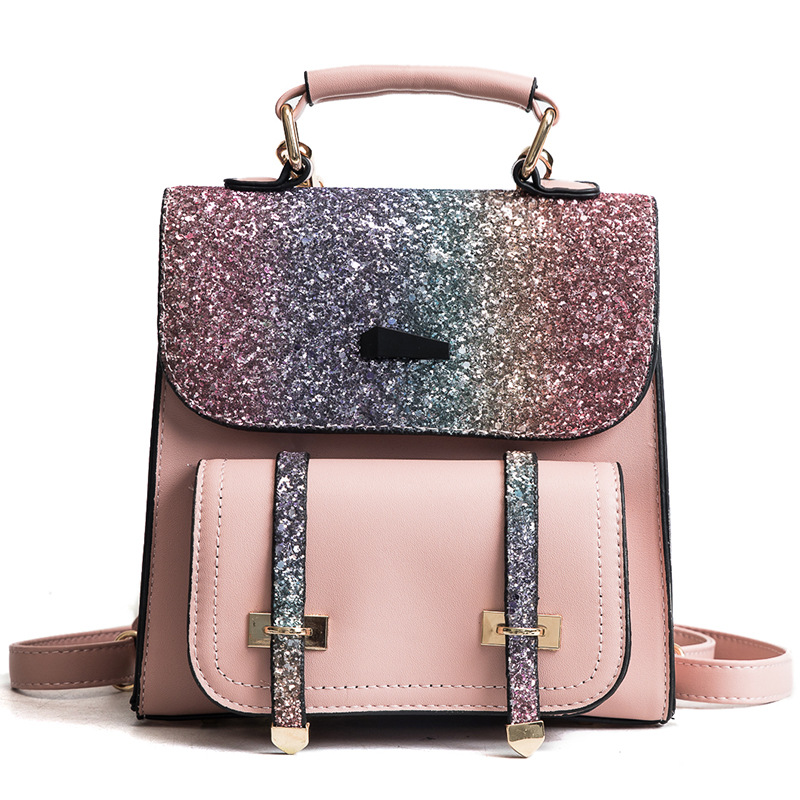 Women Sequin PU Leather Backpack Fashion Female Travel Backpack School Bags For Teenage Girls Vintage Backpacks Women Bagpack
