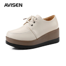 Women Casual Shoes British Style PU Leather Flat Platforms Female Shoes Solid Vintage Brogue Shoes Autumn Lace-up Ladies Shoes stylesowner korean style new arrival flat single shoes cow leather lace up shallow pink solid color casual sweet female shoes