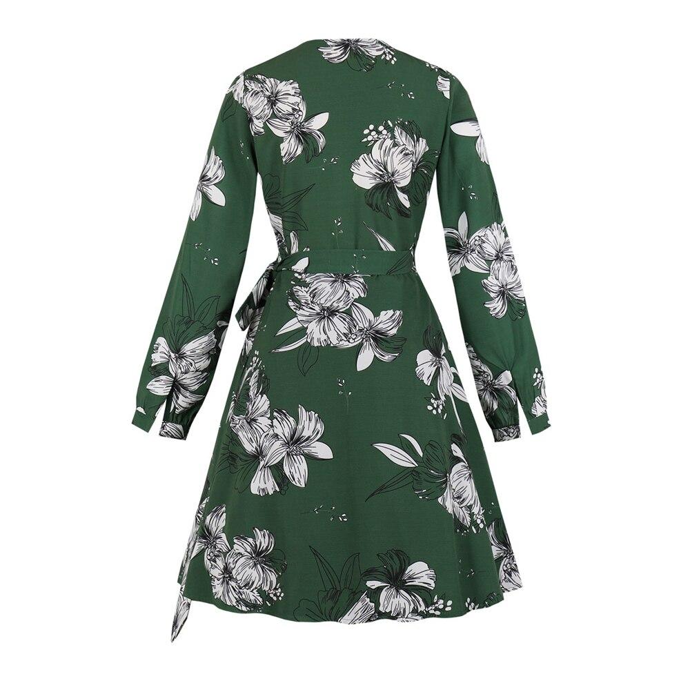 AIYIGU Boho impression florale robe mode col en v à manches longues vêtements jeune robe de soirée femme Mini robes à la mode avec des ceintures - 2