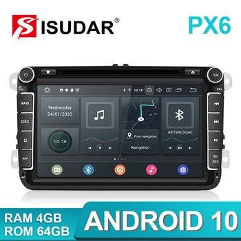 Isudar PX6 2 Din Android 10 Car Radio For Skoda/Seat/Volkswagen/VW/Passat b7/POLO/GOLF 5 6  Auto Multimedia Player DVD GPS DVR isudar da04 car dsp amplifier for vw skoda old version auto digital audio processor 700w bluetooth 5 0 filter 31 bands eq