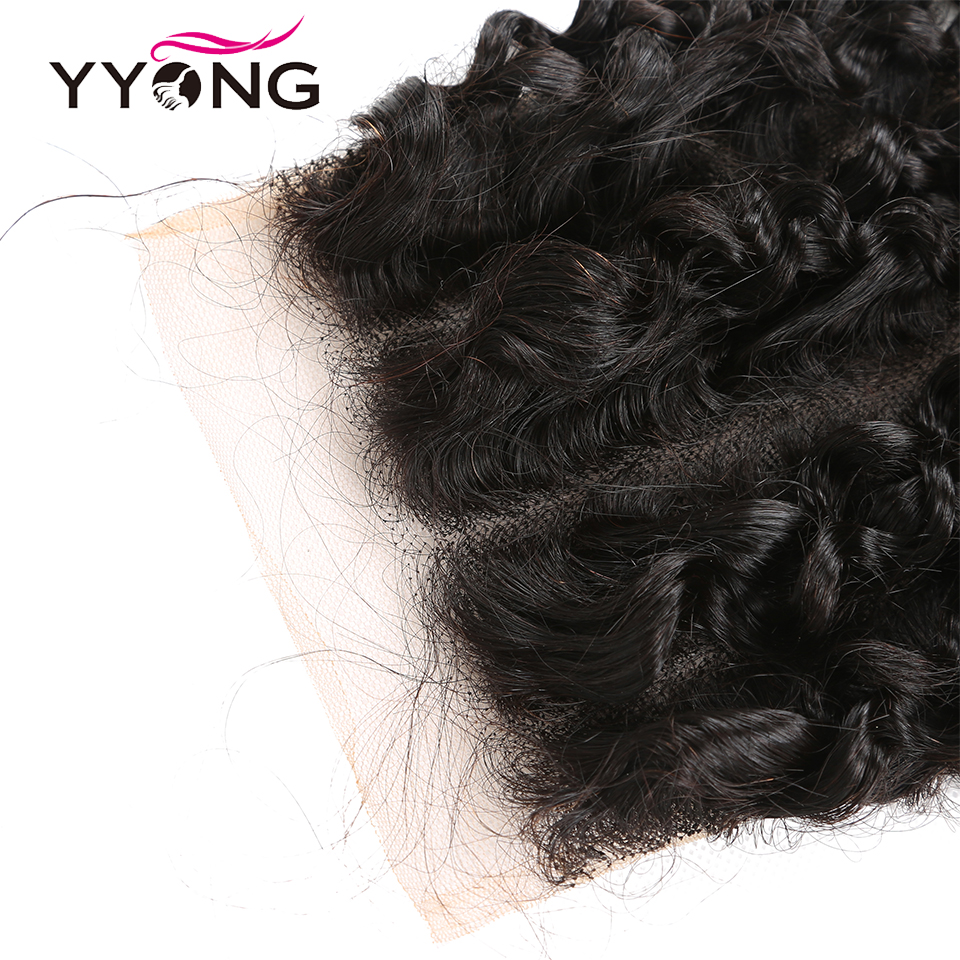 Yyong Hair 5x5 Lace Closure  Kinky Curly 10-22 Inch Free Part 100%  Closure  3