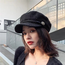 2019 Fashion Winter and Autumn Ladies Hats Women Hats Corduroy Caps Europe and America Retro Flat Top Casual Wild Octagonal Cap(China)