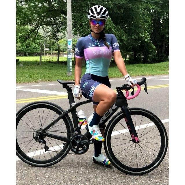 20-kafitt-9d-gel almofada ciclismo mulher triathlon ciclismo camisa de uma peça vestido pequeno macaco manga curta terno competição 3