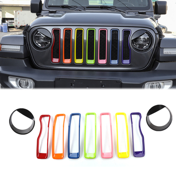 Car Front Grille Decoration +Angry Bird Headlight Trim Cover for Jeep Wrangler JL 2018+ Ring Inserts Frame Exterior Mesh Sticker