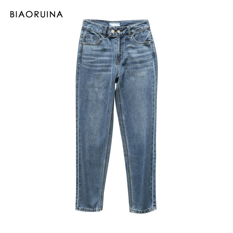 BIAORUINA Women's All-match Washing Bleached High Waist Jeans Two Buttons Female Fashion Straight Denim Jeans New Arrival