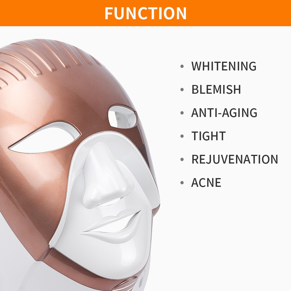Image 5 - LED Mask Beauty Device Rechargeable 7 Colors Led Mask With Neck Skin Care Wrinkle Acne Removal Skin Rejuvenation Face Care Tool-in LED Mask from Beauty & Health