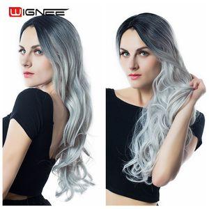 Image 4 - Парик Wignee из длинных волнистых волос, термостойкий синтетический, с эффектом омбре, для женщин, для повседневного использования, вечеринки, косплея, из натурального волокна