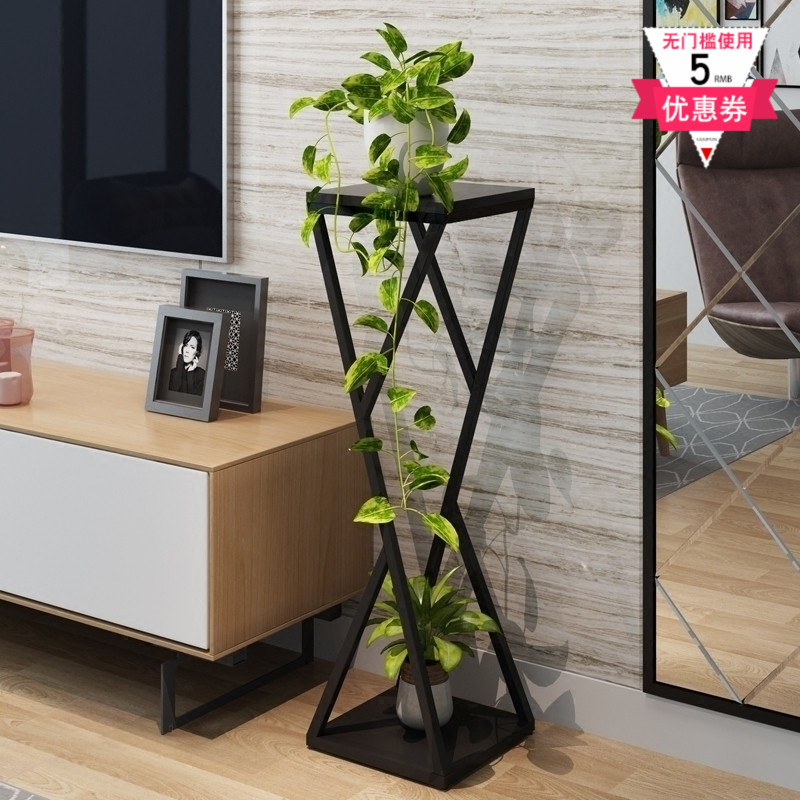 Wood Indoor Plant Stand Nordic Brief Iron Stand Planter Flower Pot Stand  Metal Shelf  Nordic Metal Home Metal Garden Decors