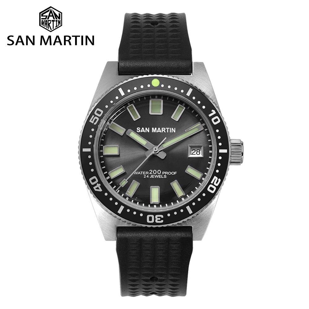 San Martin 62mas Diver Automatic Stainless Steel NH35 Ceramic Bezel Men Mechanical Watch Sapphire Glass Luminous 200m Waterproof