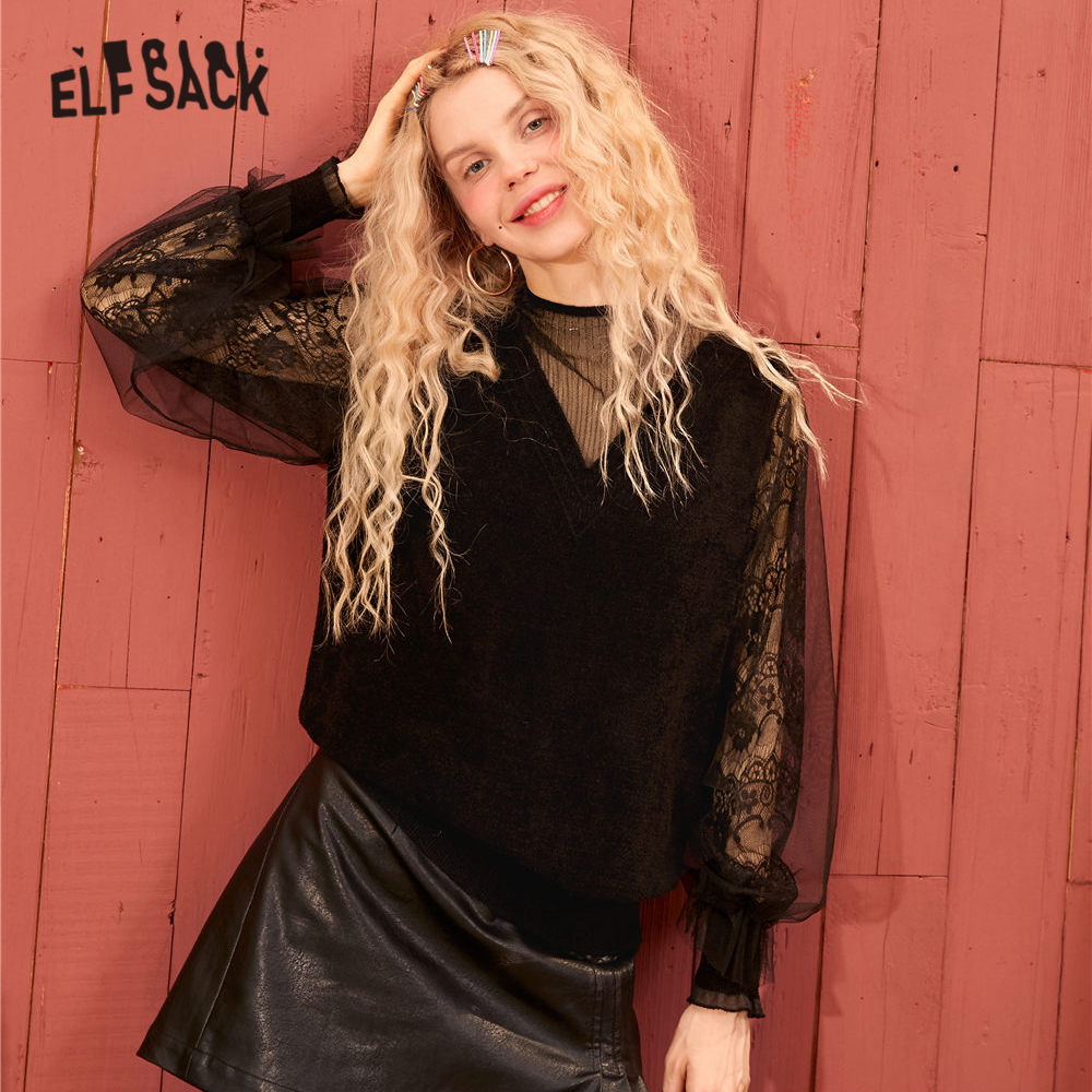 ELFSACK Black Solid Contrast Mesh Vintage Pullovers Women Sweaters 2020 Spring Long Lace Lantern Sleeve Ladies Sexy Daily Tops