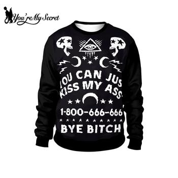 [You're My Secret] Fashion Ouija Sweatshirt Ouija Board Printed O-Neck Tops Long Sleece Gothic Pullover Streetwear Black Top цена 2017