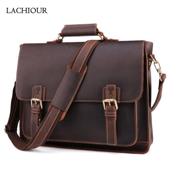 Men Business Handbag Crazy Horse Genuine Leather Laptop Shoulder Bag Fashion Document Bag Cow Leather Office Briefcase Portfolio handmade cowhide crazy horse genuine leather shoulder bag retro briefcase handbag for man men bussinss document case