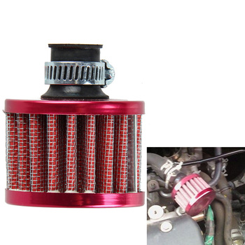Dia 12mm Red Car Auto Motor Vehicle Air Filter Cold Air Intake Filter Cleaner Turbo Vent Crankcase Breather Car Accessories image