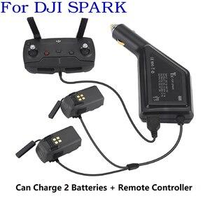 Image 1 - 3 in1 شاحن سيارة ل DJI شرارة بطارية والبعيد تحكم 2 بطاريات محور شحن USB محول ل DJI شرارة شاحن