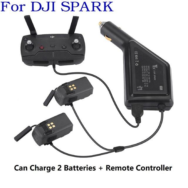 3 in1 شاحن سيارة ل DJI شرارة بطارية والبعيد تحكم 2 بطاريات محور شحن USB محول ل DJI شرارة شاحن